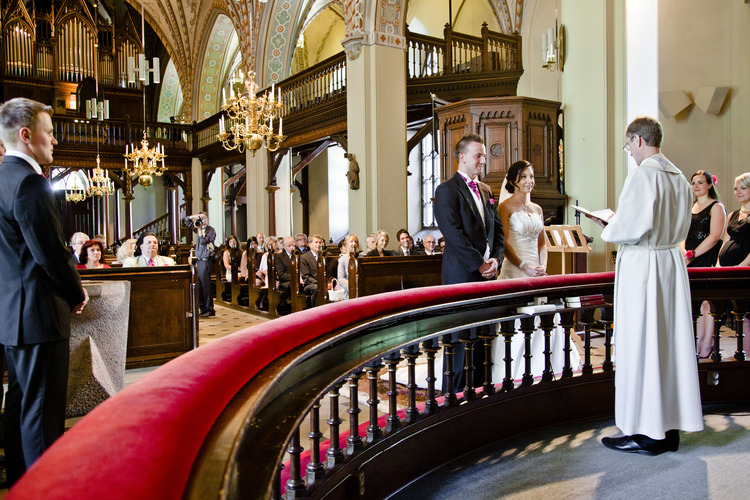 A couple getting married at the St. Lawrence Church.