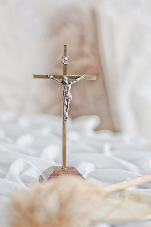A crucifix on a white background.