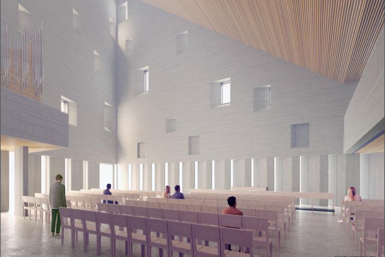 Havainnekuva kirkkosalista. Tikkurilan kirkon allianssi/Arkkitehtitoimisto OOPEAA