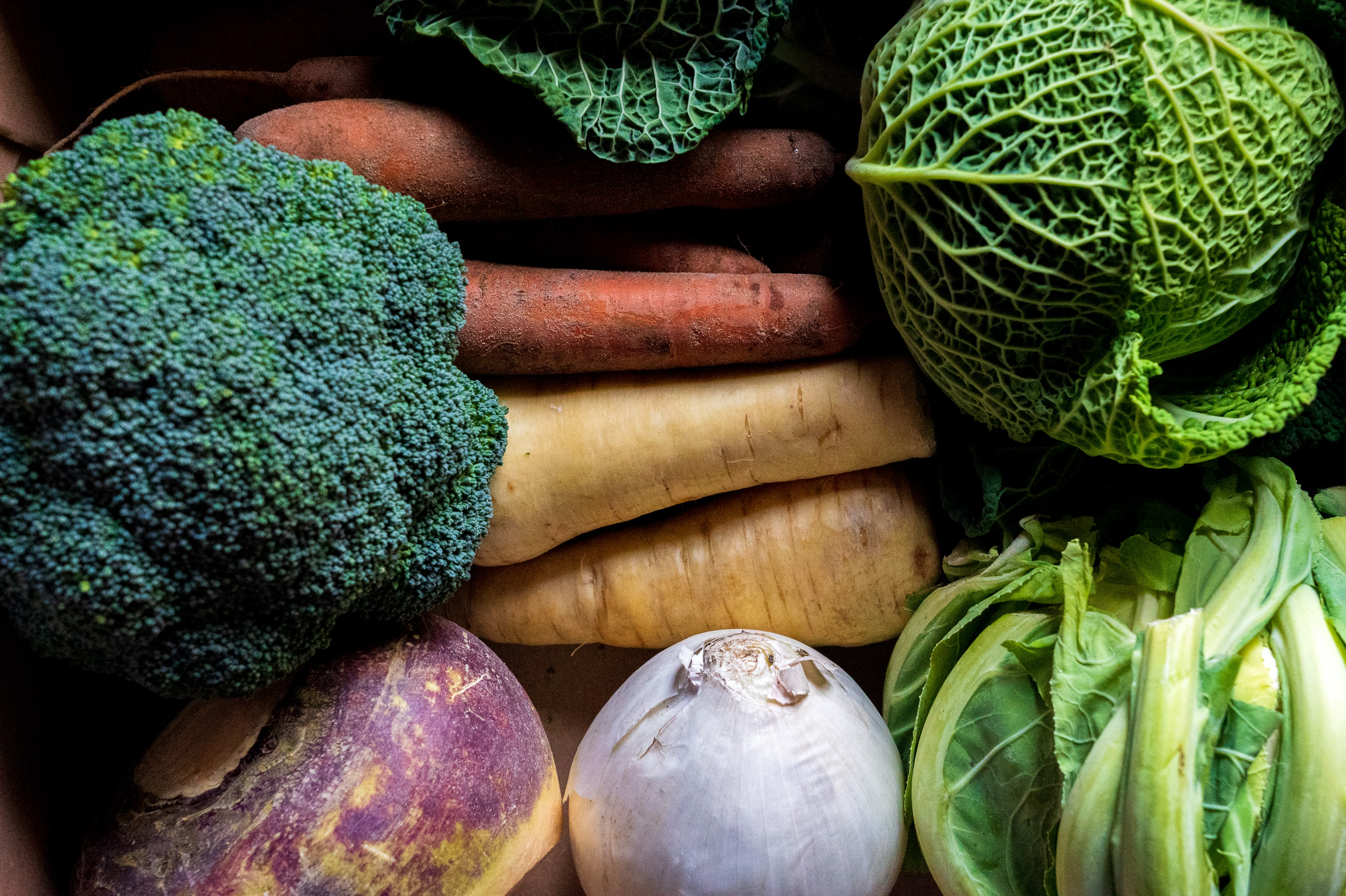 Erilaisia juureksia ja vihanneksia lähikuvassa.